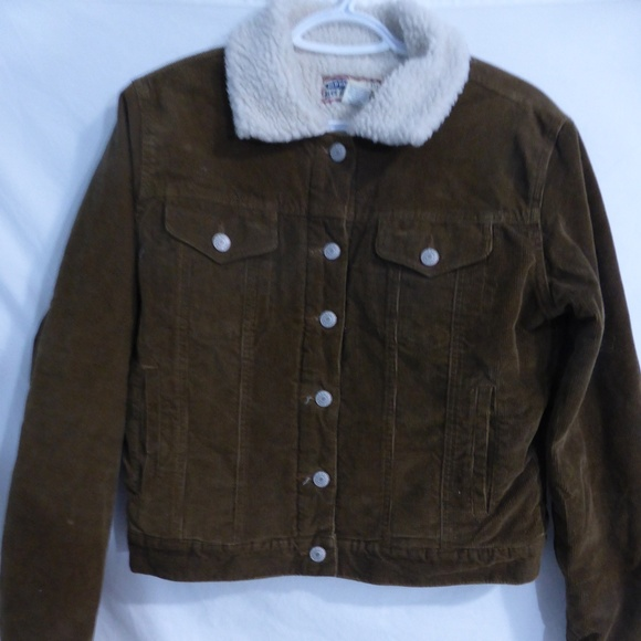 OLD NAVY brown corduroy button up jacket w sherpa